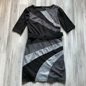 Connected Apparel Black Gray Colorblock Dress